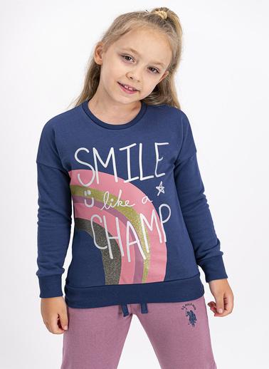 U.S. Polo Assn. Lisanslı Koyu Indigo Kız Çocuk Eşofman Takımı İndigo